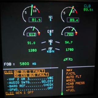 ECAM of British Airways flight BA870 - Airbus - A319-131 (G-EUOB)