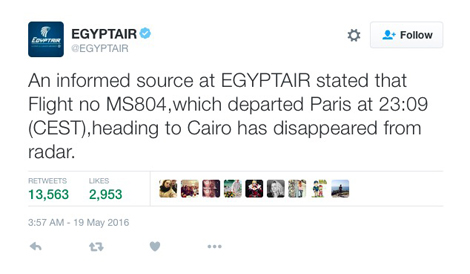 Egyptair flight MS804 tweet - Airbus A320-232 (SU-GCC)
