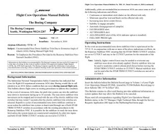 Ethiopian Airlines flight ET302 - FCOM Bulletin