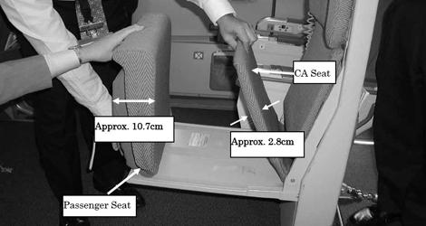 Cabin attendant vs. passenger seat : ANA All Nippon Airways flight NH391 - Airbus - A321-131 (JA-104A)